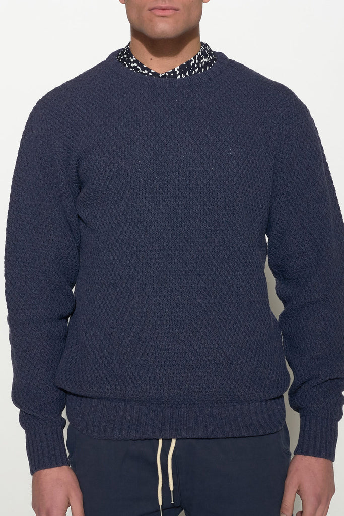 SOULLAND - RICKETTS WOOL KNIT SWEATER – NAVY - Men Clothing - Ozon Boutique - 4