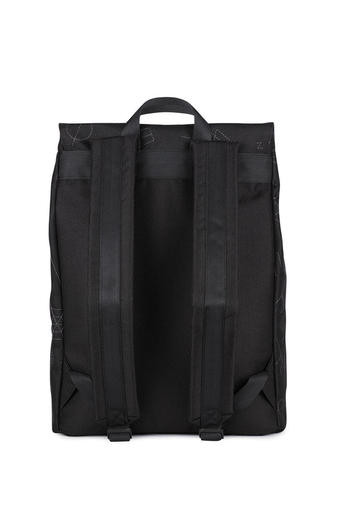 SQUARE BLACK EMBROIDERY BACKPACK