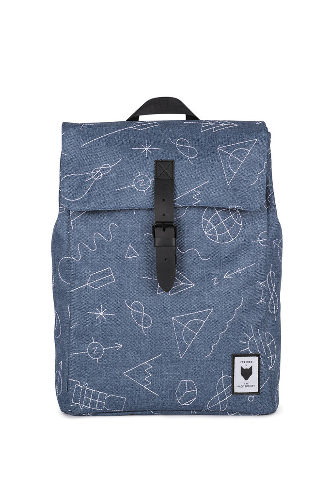 SQUARE LIGHT BLUE EMBROIDERY BACKPACK