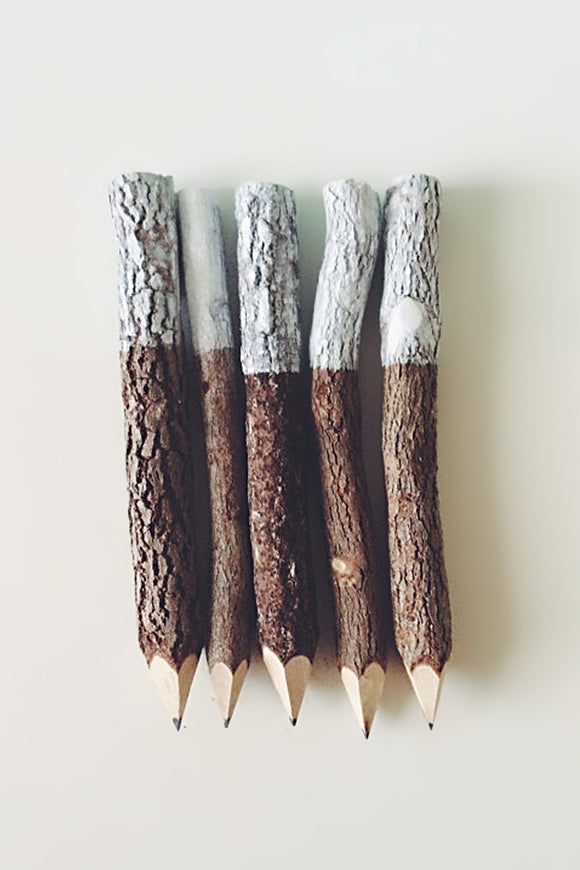 AUBERGINE FOX - WHITE DIPPED RUSTIC PENCILS - Design Accessories - Ozon Boutique