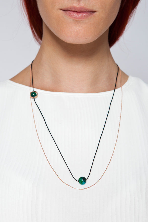 MOUTSATSOS - LONG PINK GOLD CYCLE DU SOLEIL NECKLACE WITH GREEN EARTH - Jewellery - Ozon Boutique