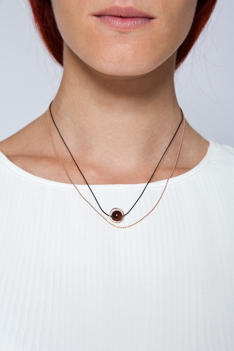 MOUTSATSOS - PINK GOLD CYCLE DU SOLEIL NECKLACE WITH CARNELIAN - Jewellery - Ozon Boutique