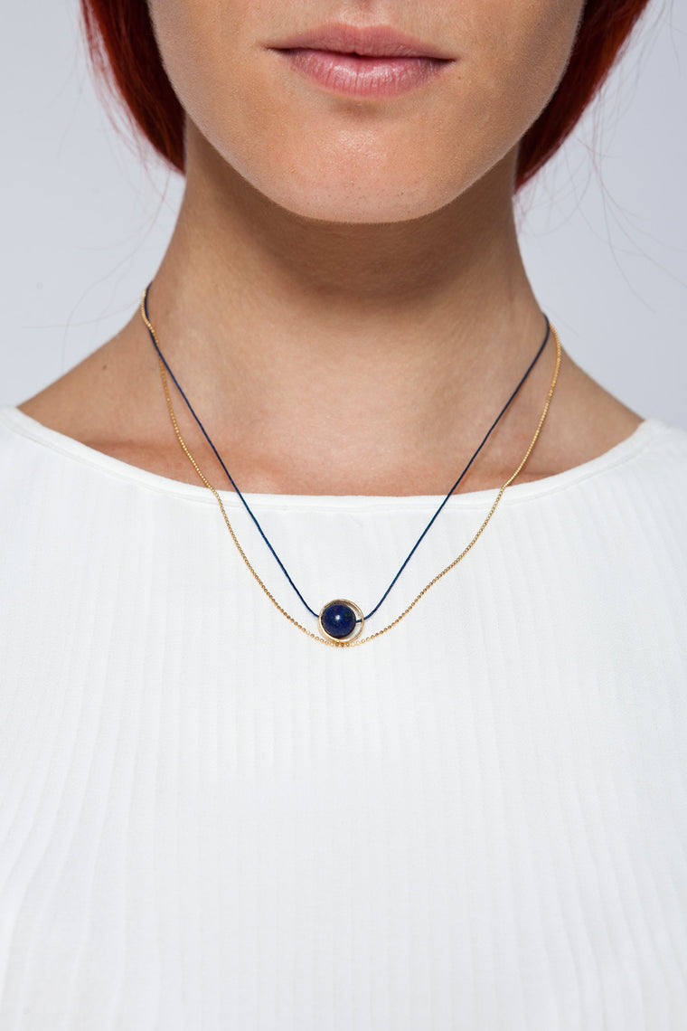 MOUTSATSOS - GOLD CYCLE DU SOLEIL NECKLACE WITH LAPIS LAZOULI - Jewellery - Ozon Boutique