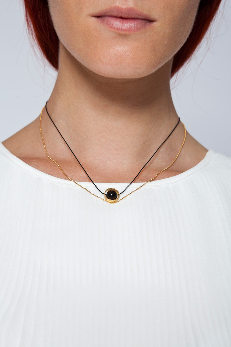 MOUTSATSOS - GOLD CYCLE DU SOLEIL NECKLACE WITH CARNELIAN - Jewellery - Ozon Boutique
