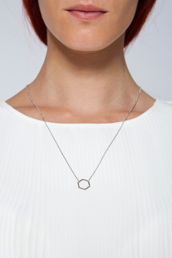 MOUTSATSOS - LONG SILVER GEOMETRY NECKLACE WITH SILVER MOTIF - Jewellery - Ozon Boutique