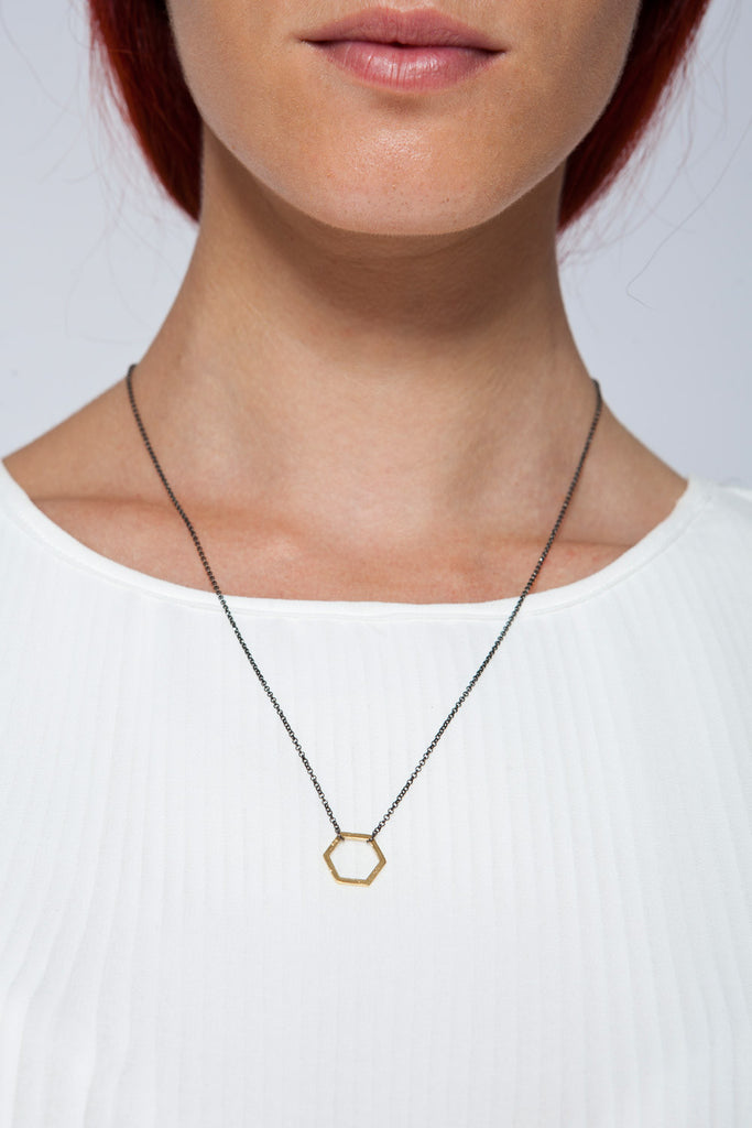 MOUTSATSOS - LONG BLACK CHAIN GEOMETRY NECKLACE WITH PINK GOLD MOTIF - Jewellery - Ozon Boutique