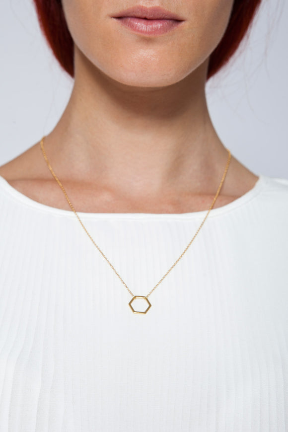 MOUTSATSOS - LONG GOLD GEOMETRY NECKLACE WITH GOLD MOTIF - Jewellery - Ozon Boutique