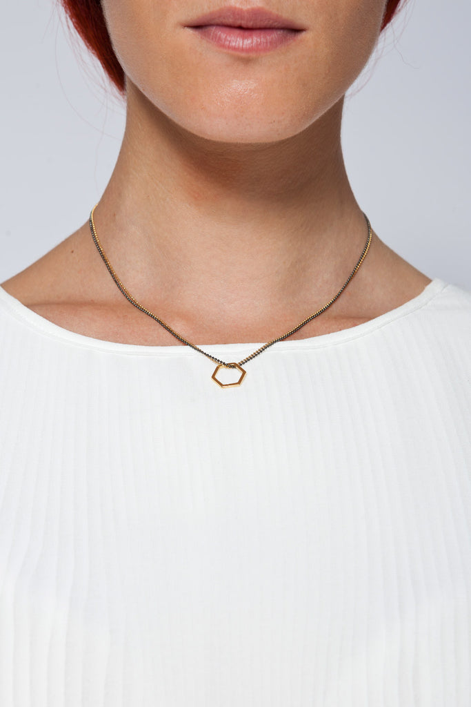 MOUTSATSOS - PINK GOLD GEOMETRY DOUBLE CHAIN NECKLACE - Jewellery - Ozon Boutique