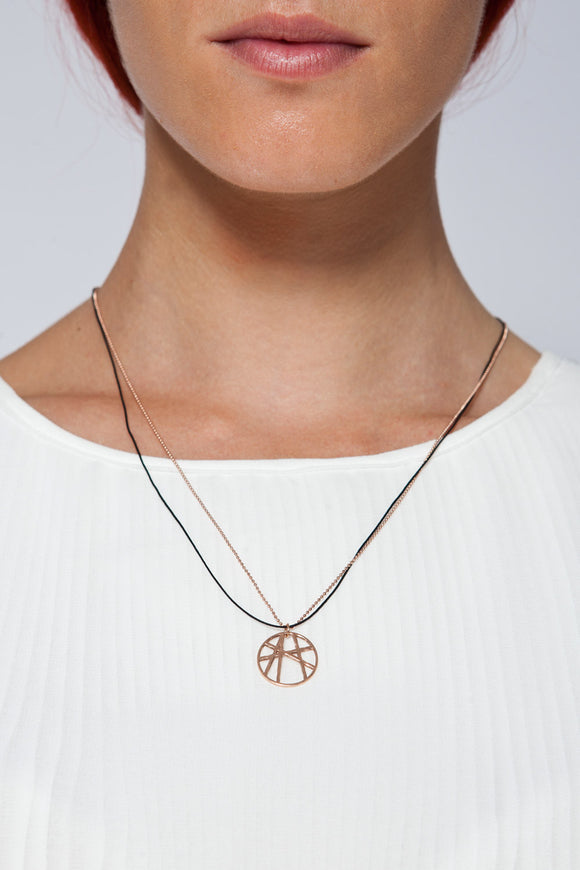 MOUTSATSOS - PINK GOLD SOLEIL NECKLACE WITH SILK CORD - Jewellery - Ozon Boutique