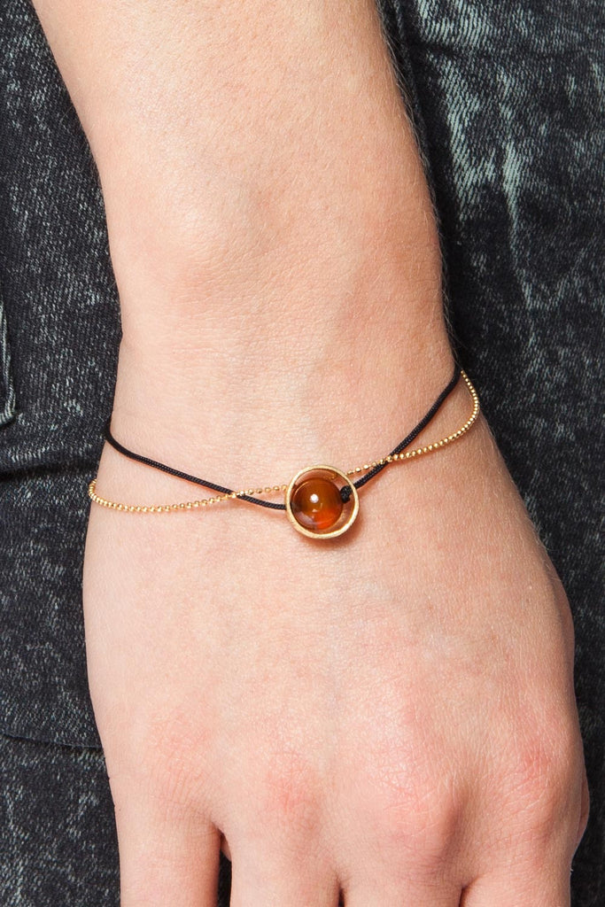 MOUTSATSOS - GOLD CYCLE DU SOLEIL BRACELET WITH CARNELIAN - Jewellery - Ozon Boutique