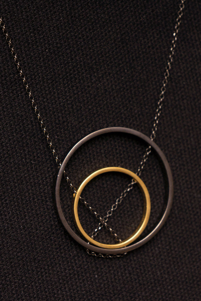MOUTSATSOS - DOUBLE CIRCLES GOLD PLATED SILVER - Jewellery - Ozon Boutique - 5