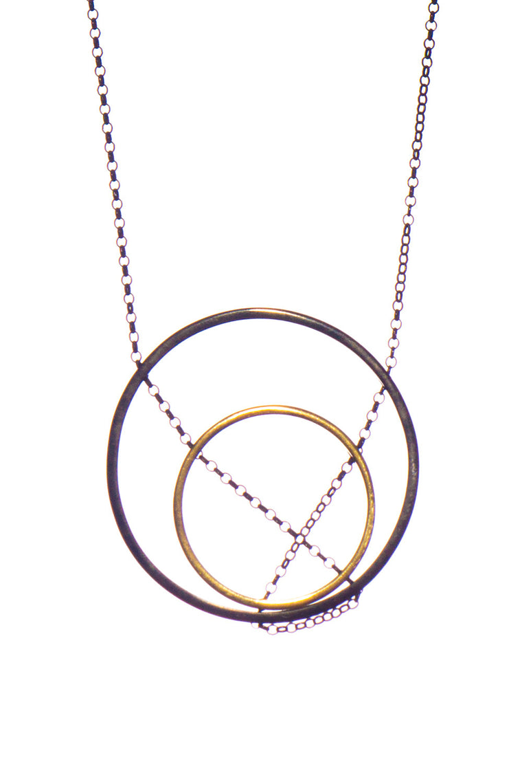 MOUTSATSOS - DOUBLE CIRCLES GOLD PLATED SILVER - Jewellery - Ozon Boutique - 1