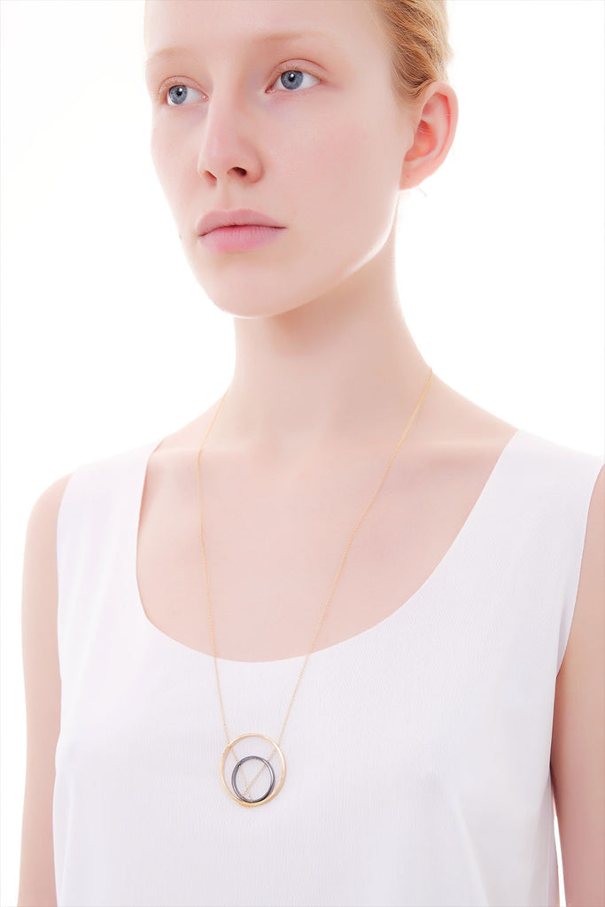 MOUTSATSOS - DOUBLE CIRCLES GOLD PLATED SILVER - Jewellery - Ozon Boutique - 2