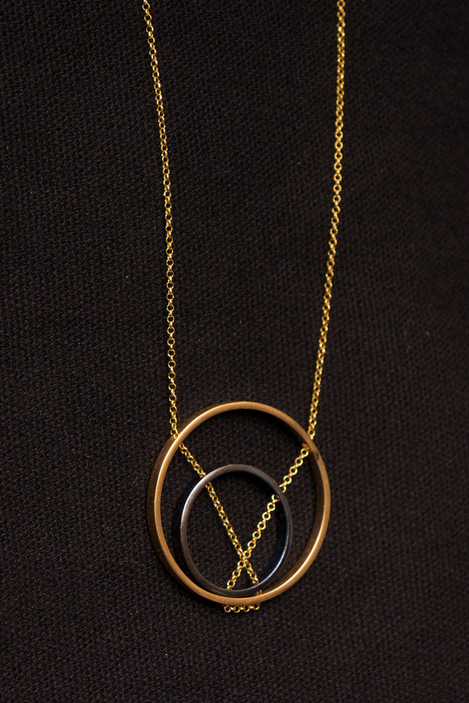 MOUTSATSOS - DOUBLE CIRCLES GOLD PLATED SILVER - Jewellery - Ozon Boutique - 3