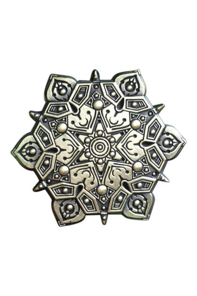 Antique Gold Finish Sacred Geometry Pin - Haberdasher - Clothing Boutique