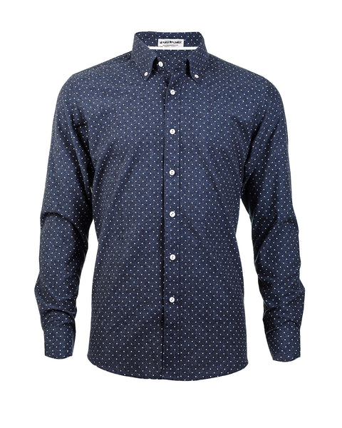 Heather Gray Dot-Print Long Sleeve Shirt - Haberdasher - Clothing Boutique