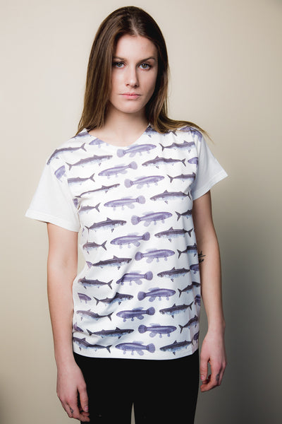 Women's Fish Print Tee - Haberdasher - Clothing Boutique