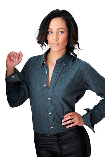 Women's Heather Green Long Sleeve Shirt - Haberdasher - Clothing Boutique