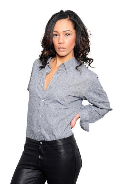 Women's Gray Chambray Long Sleeve Shirt - Haberdasher - Clothing Boutique