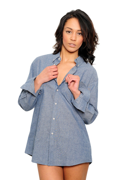 Women's Chambray Long Sleeve Shirt - Haberdasher - Clothing Boutique