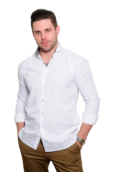 Cutaway Collar White Long Sleeve Shirt - Haberdasher - Clothing Boutique