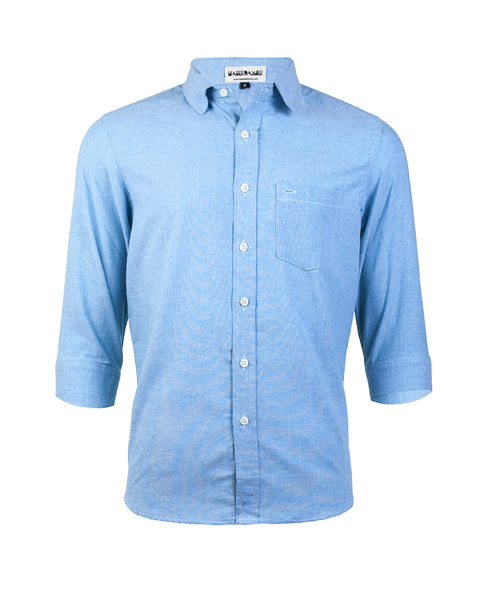Sky Blue Three-Quarter Sleeve Shirt - Haberdasher - Clothing Boutique