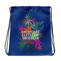 Funny Leaves Blue Drawstring Bag