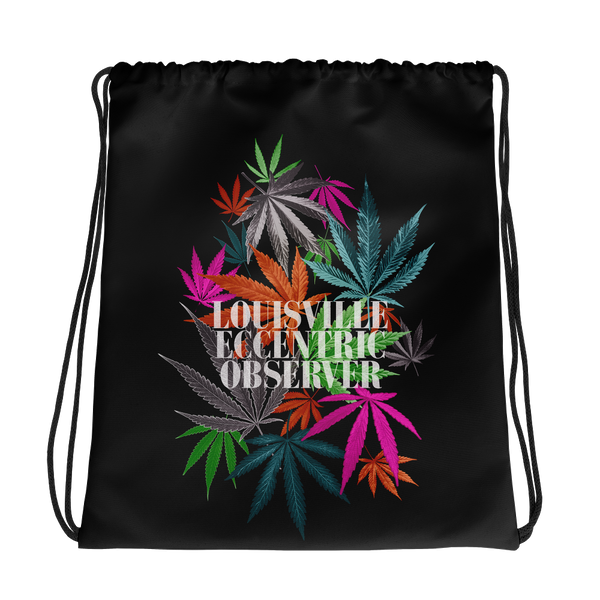 Funny Leaves Black Drawstring Bag