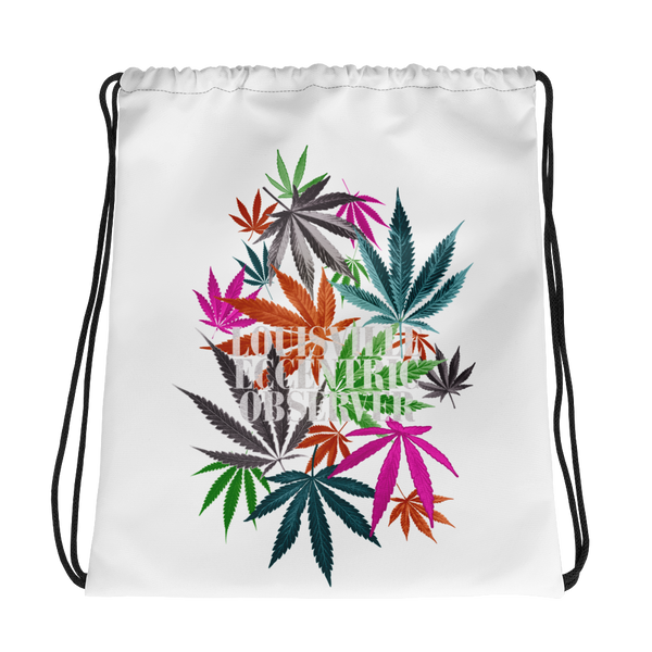 Funny Leaves White Drawstring Bag
