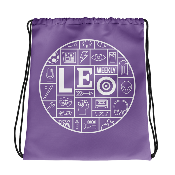 LEO Mosaic Purple Drawstring Bag