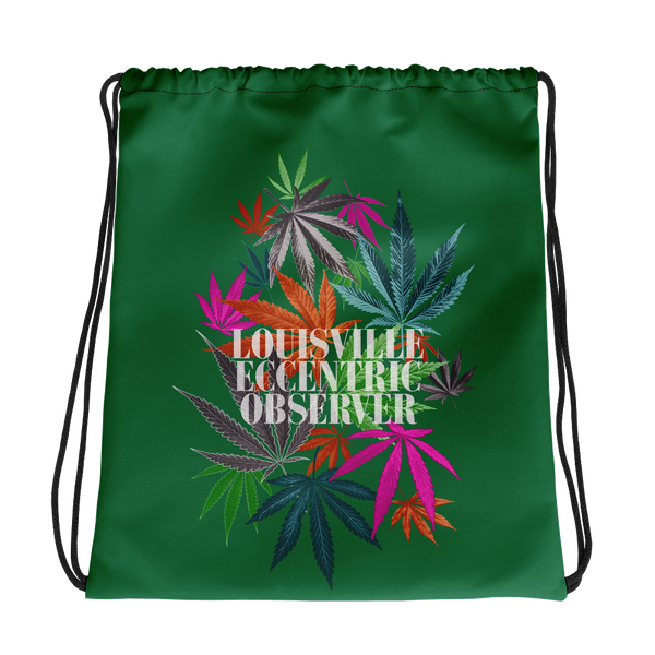 Funny Leaves Green Drawstring Bag