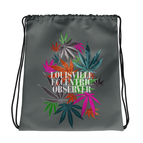 Funny Leaves Gray Drawstring Bag
