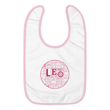 LEO (Blue/Pink) Mosaic Embroidered Baby Bib