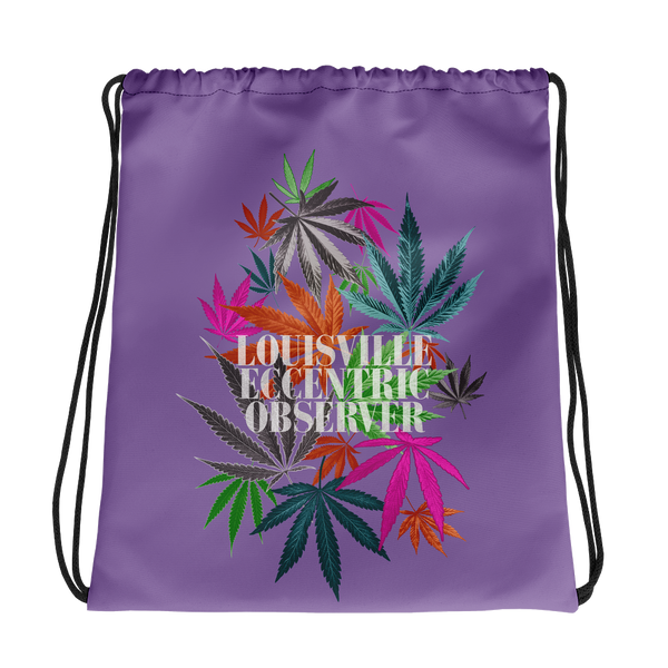 Funny Leaves Purple Drawstring Bag