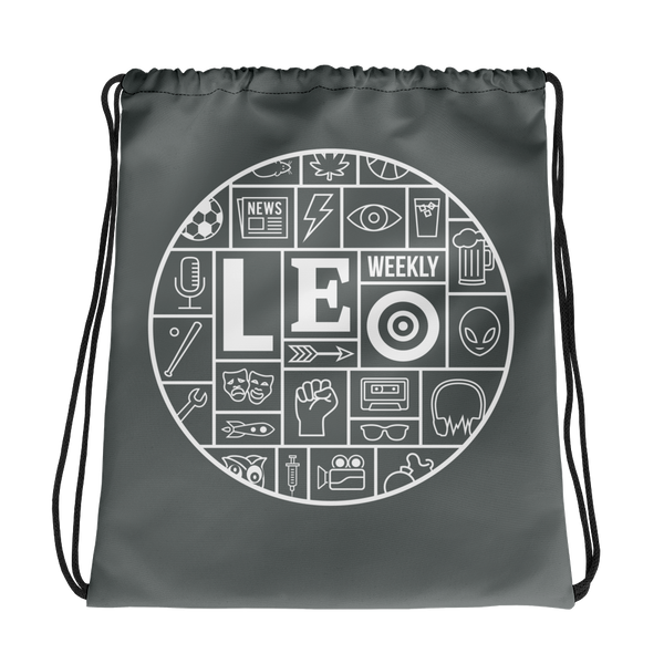 LEO Mosaic Gray Drawstring Bag