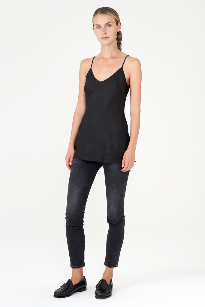 Women's Black Bias Camisole Top