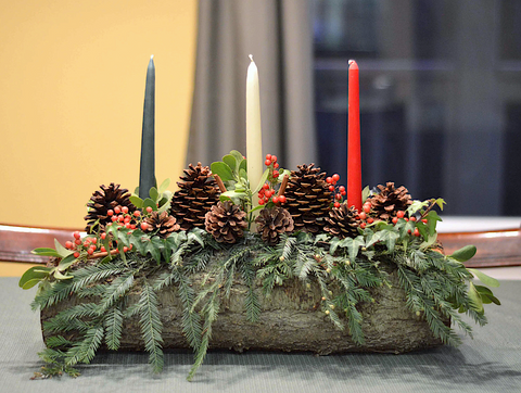 Yule log centerpiece from The Painted Hinge