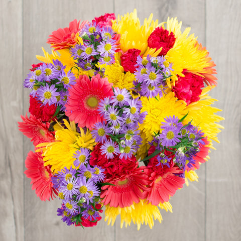 yellow Fuji mums with gerbera daisies and carnations friendship flowers