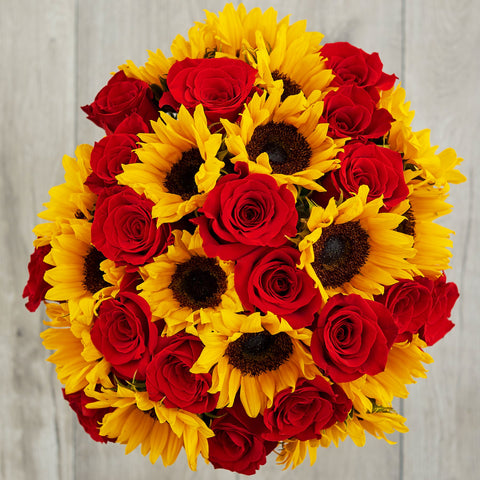 red rose and sunflower bouquet gemini zodiac flowers