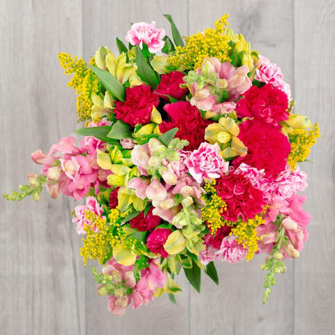 pink snapdragon, alstromeria and carnation bouquet friendship flowers