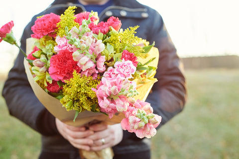 hello beautiful carnation and snapdragon breast cancer bouquet