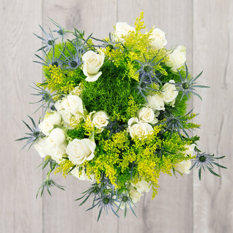 Blue Thistle, Yellow Solidago, Green Trick, White Spray Rose