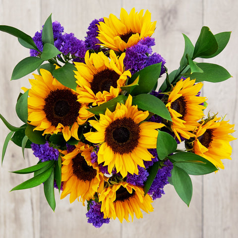 sunflower and iris bouquet friendship flowers