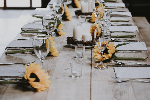 sunflower table setting decor
