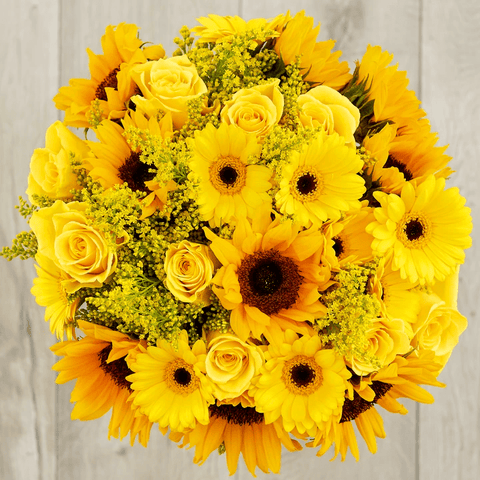 sunnyside yellow rose and sunflower bouquet