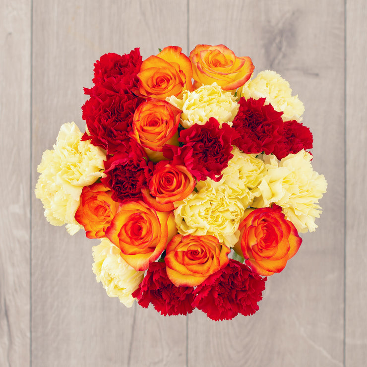 Fall Seasonal Bouquet of Roses Carnations