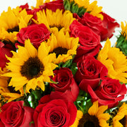 Red Roses and Sunflowers