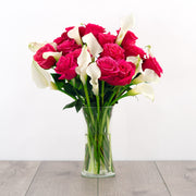 Hot Pink Roses and Calla Lilies