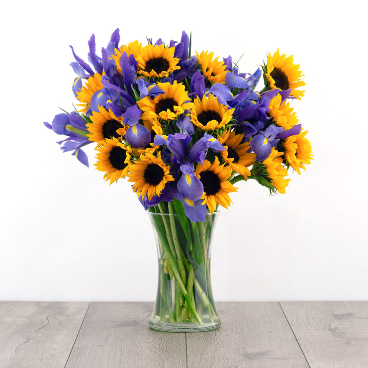Sunflower and Iris Mixed Bouquet