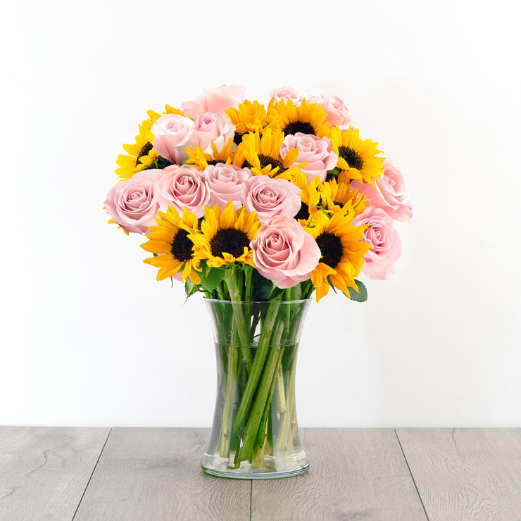pink roses sunflowers bouquet